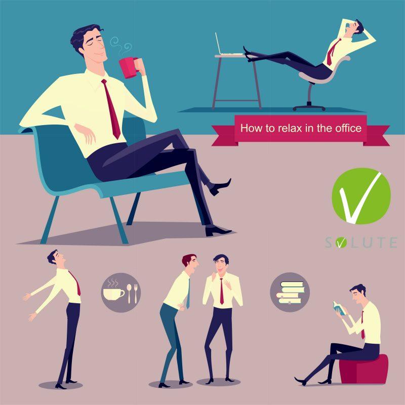 Grafik zeigt, wie man sich zwischen der Arbeit entspannen kann